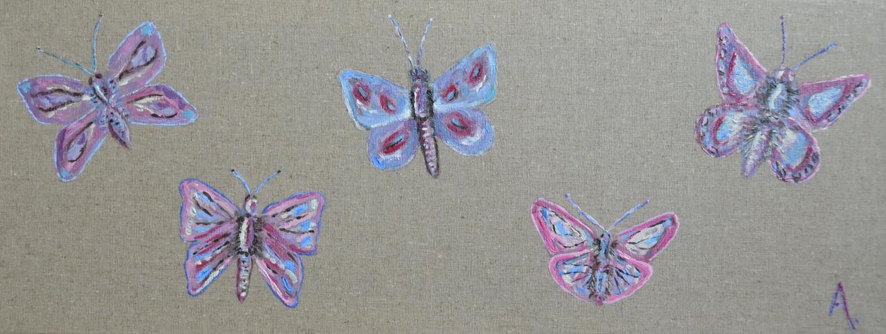 Cinq papillons 20x50