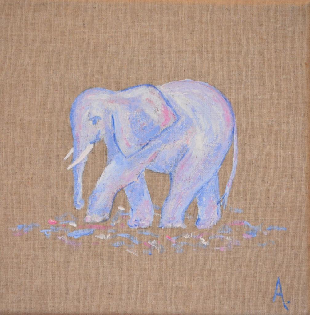 éléphant bleu ciel 20x20