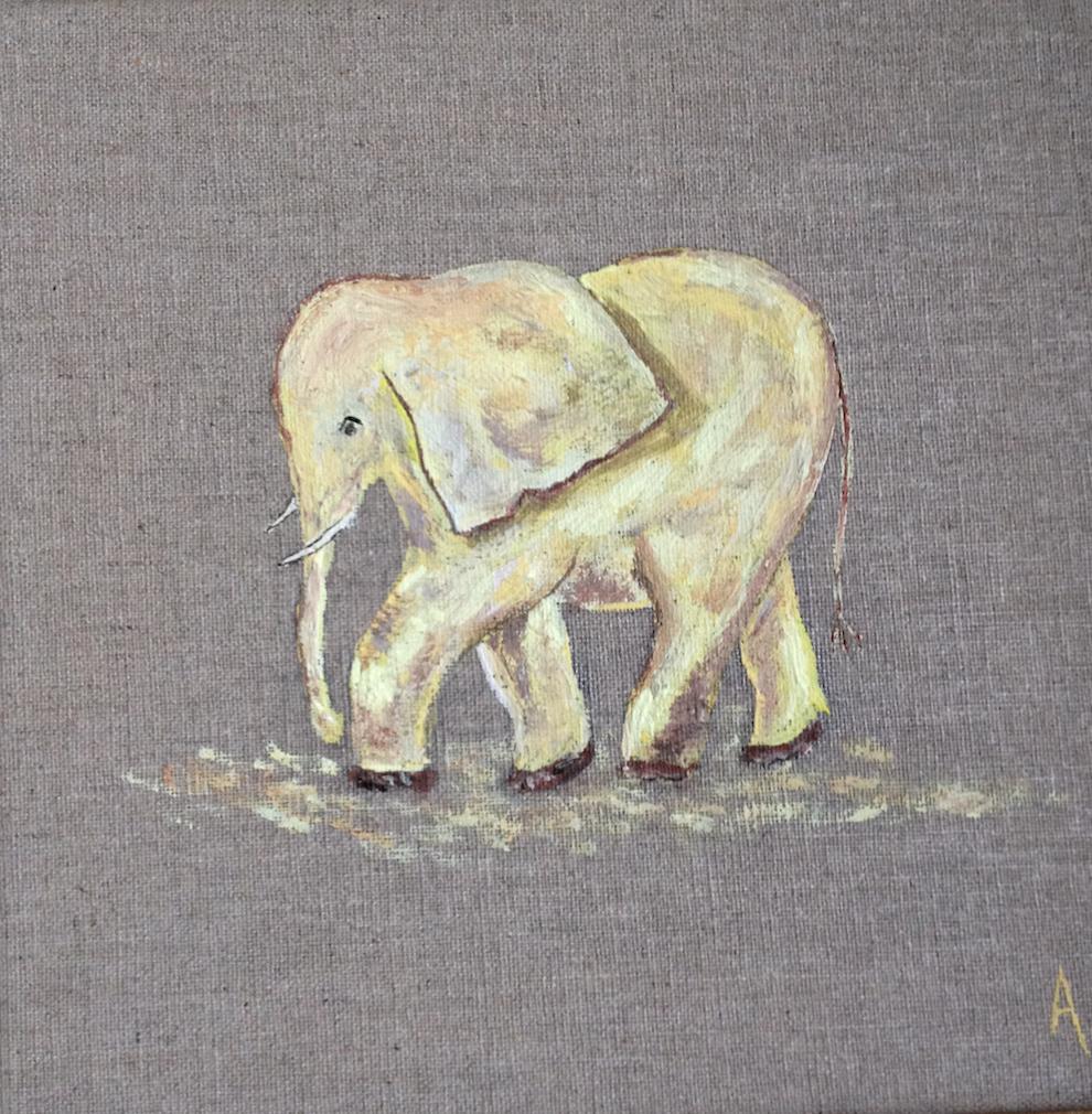 elephant jaune 20X20