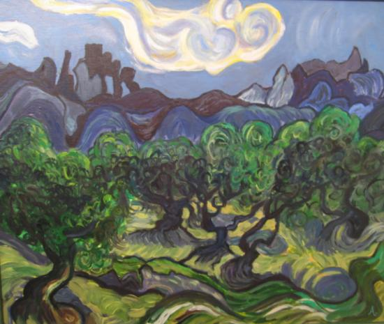 Champ d'oliviers, d'après Vincent van Gogh