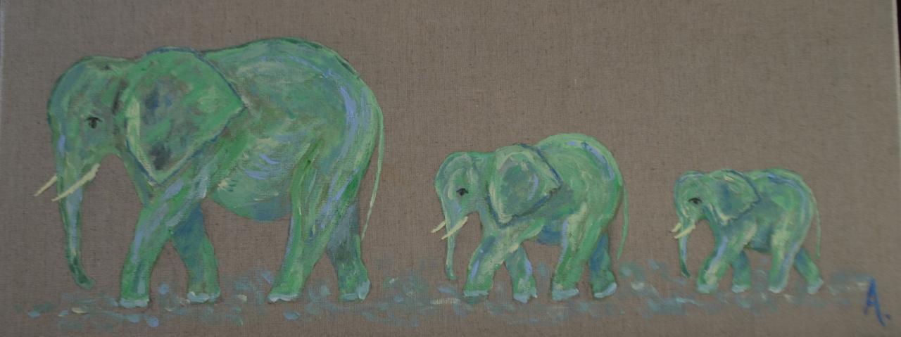 Trois éléphants verts 20X50