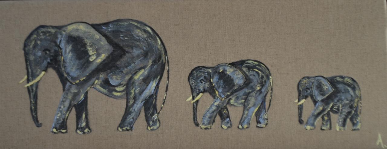 Trois éléphants gris 20X50