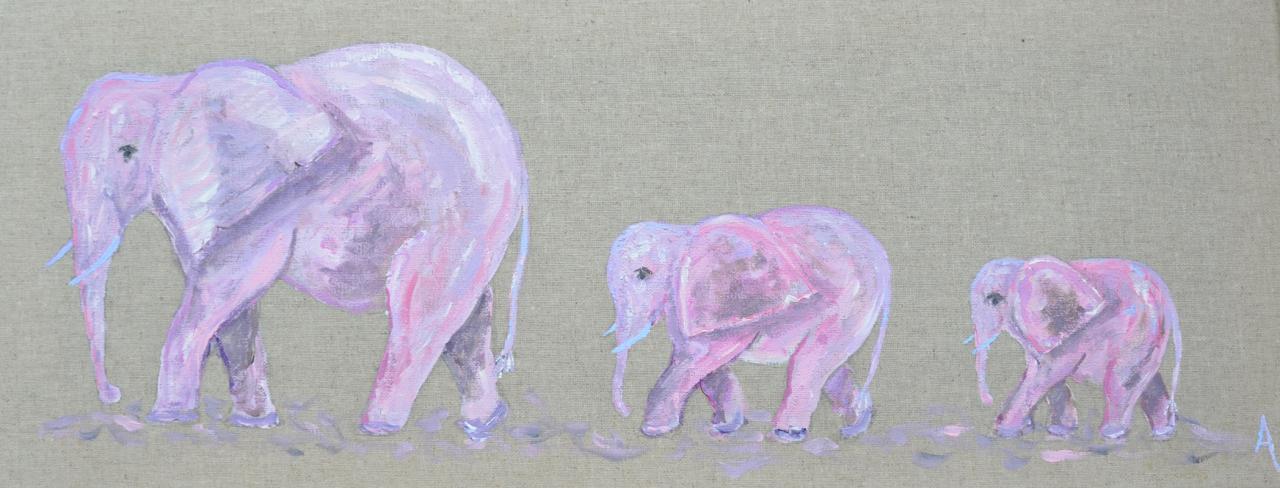 trois elephants roses  20X50
